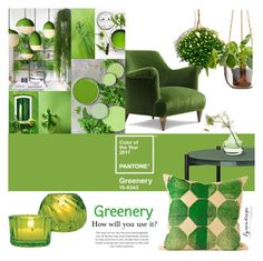 """TasteMasters Design Group: Pantone ~Greenery~"" by eyesondesign ❤ liked on Polyvore featuring interior, interiors, interior design, home, home decor, interior decorating and Cultural Intrigue"