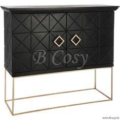 J-Line Dressoir 2 deurs geometrisch hout zwart-goud 130 - Lage kasten - BCosy Webshop Boutique Web Vente en Ligne