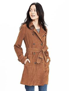 Suede Trench The statement jacket you've been looking for is here. Classic trench styling meets supple suede i Suede Trench Coat, Brown Trench Coat, Trench Coats, Clothes For Sale, Clothes For Women, Fall Clothes, Double Breasted Coat, Business Casual Outfits, Banana Republic