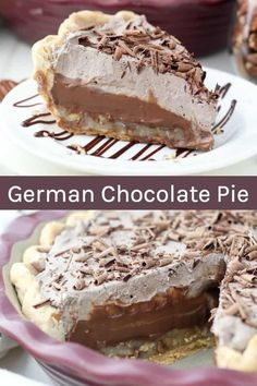 Coconut Pecan German Chocolate Pie Recipe has a layer of gooey coconut pecan topping, a homemade German chocolate pudding and a layer of chocolate whipped cream in a flakey pie crust. German Chocolate Cheesecake, German Chocolate Pies, Chocolate Cobbler, Chocolate Pie Recipes, Homemade Chocolate, Vegetarian Chocolate, Chocolate Desserts, Chocolate Pudding, Chocolate Chocolate