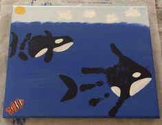 Handprint footprint orca whales with clownfish keepsake canvas acrylic paint gif. Whale Crafts, Ocean Crafts, Daycare Crafts, Classroom Crafts, Daycare Rooms, Toddler Art, Toddler Crafts, Fingerprint Art, Footprint Crafts
