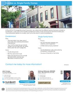 Condos Vs. Single Family Homes - Real Estate Agent and Sales in PA - Anthony DiDonato Broomall, Media, Delaware County and surrounding areas in Pennsylvania Real Estate News, Real Estate Houses, Family Homes, Home And Family, Delaware County, Condos, Condominium, Single Family, Home Buying