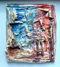 De la porcelaine , du verre, des engobes des fusibles, des pigments bas relief mesure 2cm