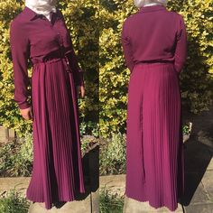 "4 Likes, 1 Comments - Allure.Abayas (@allure_abayas) on Instagram: ""Lovely burgundy pleated abaya - dress with hidden waist belt that can be adjusted to give you a…"""