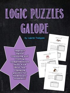 Improve critical thinking skills and reading comprehension with this set of 40 full page fun logic puzzles for elementary students. Students use the clues to eliminate wrong answers and come to logical conclusions. Includes directions, a step-by-step model for solving the puzzles, and answer key.