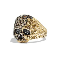 David Yurman Waves Small Skull Ring with Cognac and Black Diamonds in…