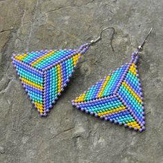 Seed bead earrings Triangle Peyote Earrings by Beaded Earrings Patterns, Peyote Beading, Peyote Patterns, Jewelry Patterns, Beading Patterns, Seed Bead Jewelry, Bead Jewellery, Seed Bead Earrings, Bead Earrings