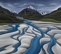 River's Reach (Large) Canvas Print by Diana Adams for Sale - New Zealand Art Prints Large Canvas Prints, Canvas Art, Art Prints, Abstract Landscape, Landscape Paintings, Art Paintings, New Zealand Landscape, New Zealand Art, Nz Art