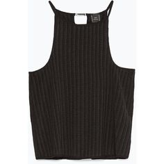 Zara Ribbed Top (€21) ❤ liked on Polyvore featuring tops, tank tops, black, shirts, black tank, ribbed shirt, zara shirt, ribbed tank and shirts & tops