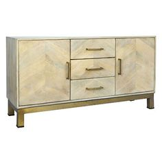 This stylish sideboard goes with our Mango Wood Chevron Pattern Dining Table. It is made with mango wood bleached in a chevron pattern, a bright marine blue interior with antiqued brass legs. This cr