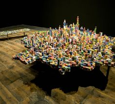 cool picture of city built with chips, poker chips that is...