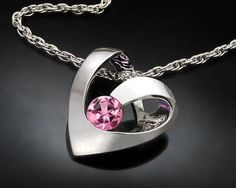 pink tourmaline pendant October birthstone necklace heart