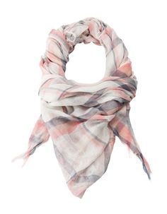 Check print neck scarf with fringing
