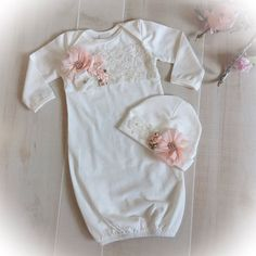 Newborn Girl Take Home Outfit Ivory Layette Gown by PoshBabyBlooms