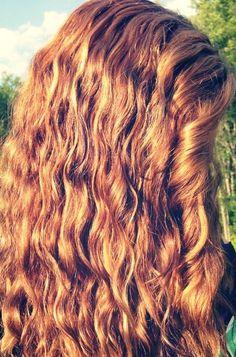 Curly caramel brown hair