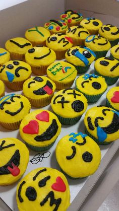 Emoji Cupcakes French Vanilla With Chocolate Chips Half Without And Buttercream Icing