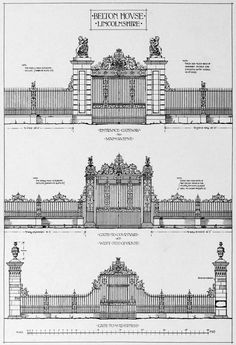 Designs for the gates of Belton House, Lincolnshire