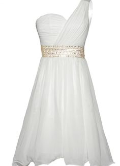 White Formal Dress - White One Shoulder Dress with | UsTrendy