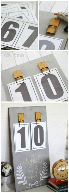 Easy DIY chalkboard calendar tutorials with FREE printable numbers!