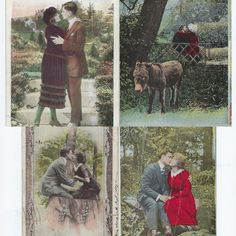 Antique Postcards - Couples Kissing - Set of 4 Valentine Post Cards from the - Love Ephemera - Collectible Cards - Colorized Collectible Cards, Plaid Christmas, Kissing, Vintage Postcards, Happy Valentines Day, Ephemera, 1920s, Vintage Antiques, Card Making
