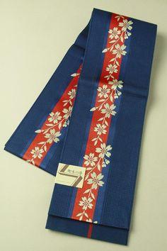 Navy han haba obi / 紺地 赤の縞に桜繋ぎ柄 化繊半幅帯   #Kimono #Japan  http://www.rakuten.co.jp/aiyama/