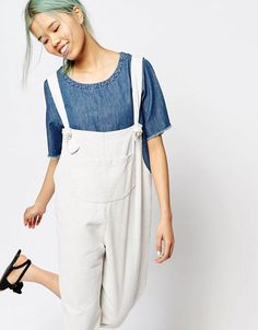 ASOS New 90's - Zacro Oversized Dungaree Jumpsuit With Front Pocket In Corduroy