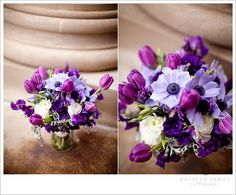 Love this purple bouquet. Tulips, anemones, lisianthus, ranunculus, roses and dusty miller