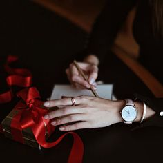 WEBSTA @ maritsanbul - Red ribbons and greeting cards ❤️ It's almost #December  #OfficeMood today w/ #rosefieldwatches #thebowery and the signet ring