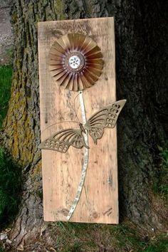 Jeanne Sammon's barnwood 'blooms' Butterfly used as leaves