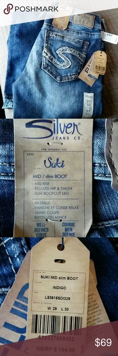 Last one!Silver Jeans 29 X 33 New with tags Silver Jeans Suki mid slim boot 29 X 33 Silver Jeans Jeans Boot Cut