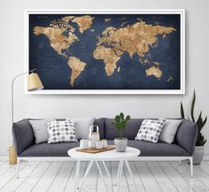 Push pin travel map world travels map map art world map canvas world map push pin artwork travel theme large world map watercolor art print home office living room decor art gift gumiabroncs Gallery