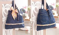 En este artículo os enseñamos un creativo y precioso bolso realizado con pantalones vaqueros viejos. Una idea genial para reciclar.