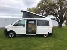 Our latest Van Conversion! Vw Campervans For Sale, Van Conversion Campervan, Rock And Roll Bed, Used Hyundai, Portable Solar Panels, Dinosaur Design, Car Wrap, Leather Design, Camper Van