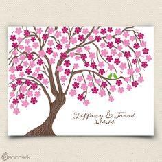 Cherry Blossom Wedding Tree Guestbook Alternative - Wedding Wish Tree - By Peachwik