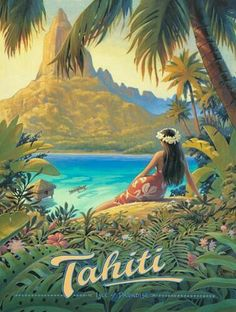 """""""Vintage Tropical Travel Posters""""-Time to dream of Hot Vacation Spots and Mai Tai's - The Vintage Inn Some Beautiful Pictures, Cool Pictures, Voyage Hawaii, Bel Art, Society Islands, Texture Photography, Photo Wall Collage, Vintage Travel Posters, Up Girl"""
