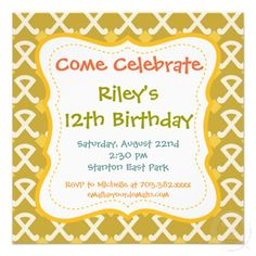 Retro Fun Pattern Birthday Party Invitations