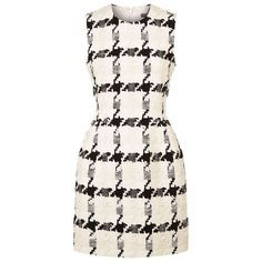 Alexander McQueen Large Houndstooth Bouclé Dress ($2,720) ❤ liked on Polyvore featuring dresses, white day dress, boucle dress, no sleeve dress, hounds tooth dress and mixed print dress