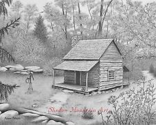Mountain Landscape Pencil Drawings | log cabin landscape 8x10 art print graphite pencil drawing signed ...