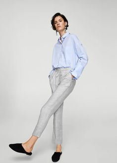Drawstring flowy trousers -  Women | MANGO USA