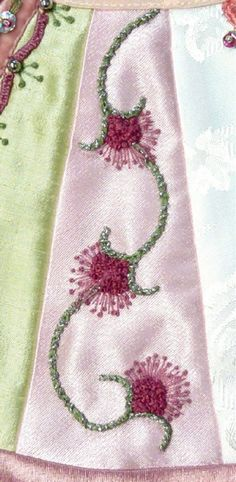 I ❤ embroidery . . . TAST #35 - Pistil Stitch- The stems were chain stitches done with 4 strands of floss to make them bold and then wrapped with Kreinik very fine braid. The french knots were done with 3 strands of floss and the pistil stitches with a single strand of floss. ~By Susie W.