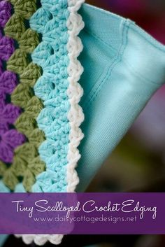 Scalloped Crochet Edging. I like this one. Directions to edging at very end of article.
