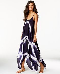 Love this for by the beach or pool! --- Raviya Tie-Dye Handkerchief Maxi Dress Cover-Up