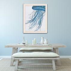 Jellyfish artwork, beach wall art, coastal decor, beach house decor, nautical print modern print, ocean decor - Jellyfish drift in turquoise