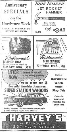 Harveys hardware 1960 ad.