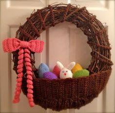 Crochet Easter Basket Wreath by CrochetFarmer on Etsy, $60.00