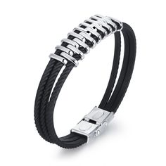 "OPK Fashion Stainless Steel Genuine Multilayer Leather Stagger Wrap Braided Bracelet Sport Bangle for Men. Metal: Stainless steel/Leather. Size: 210mm(8.26"")*10mm(0.39""). Top Quality/ Brand New Design/ High Polish/ Light and Comfortable to Wear. Clean with soft cloth;Avoid chemicals;Avoid friction;Avoid wear when sweating or bathing;Take off when sleeping. Packing:Brand OPK Logo Box Packing.OPK is a US registered trademark and opkstore is the only owner for this brand, please look for the..."