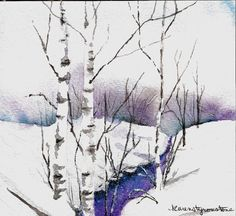 Original Watercolor   Creek in Winter by karenstyronstoneart