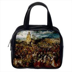 Procession To Calvary Pieter Bruegel Leather Sling Bag & Women's Handbag