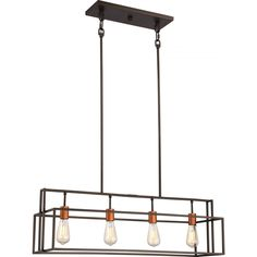Lake 4 Light Island Pendant Bronze with Copper Accents Finish