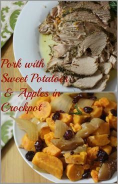 Pork with Sweet Potatoes & Apples (Crockpot) - A tender pork that has been slow cooked in apple juice, onions, apples and sweet potatoes.